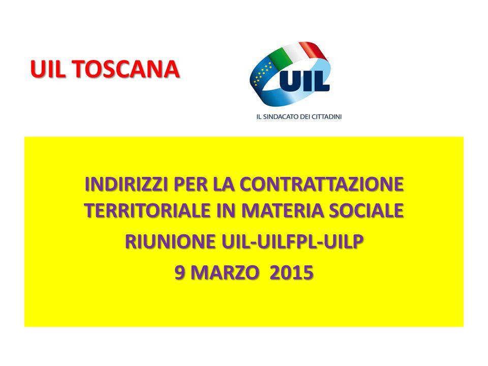 UIL TOSCANA INDIRIZZI PER LA CONTRATTAZIONE TERRITORIALE IN MATERIA SOCIALE RIUNIONE UIL-UILFPL-UILP 9 MARZO 2015
