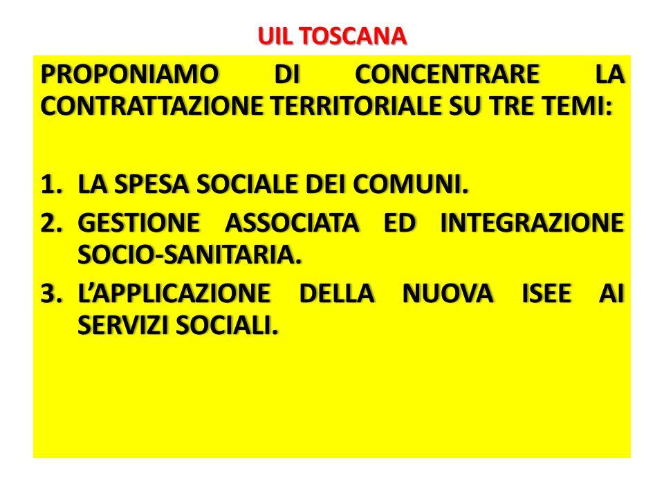 UIL TOSCANA PROPONIAMO DI CONCENTRARE LA CONTRATTAZIONE TERRITORIALE SU TRE TEMI: 1.LA SPESA SOCIALE DEI COMUNI.1.LA SPESA SOCIALE DEI COMUNI.