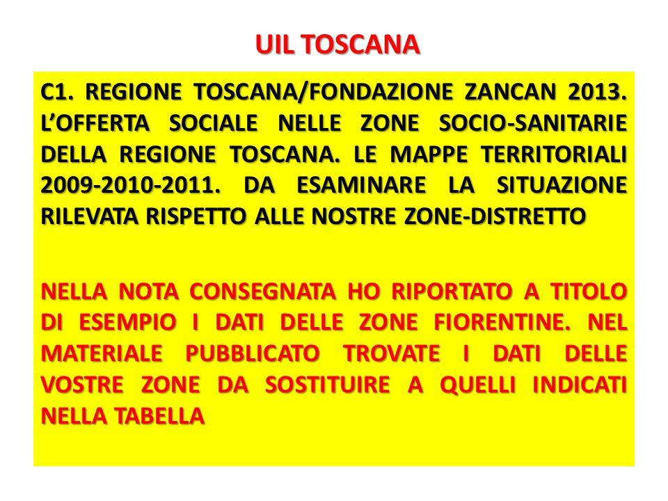 UIL TOSCANA UIL TOSCANA C1. REGIONE TOSCANA/FONDAZIONE ZANCAN 2013.