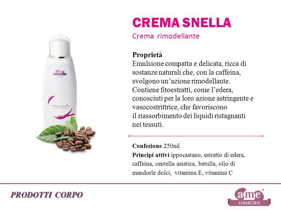 PRODOTTI CORPO CREMA SNELLA Crema rimodellante Proprietà Emulsione compatta e delicata, ricca di sostanze naturali che, con la caffeina, svolgono un'a