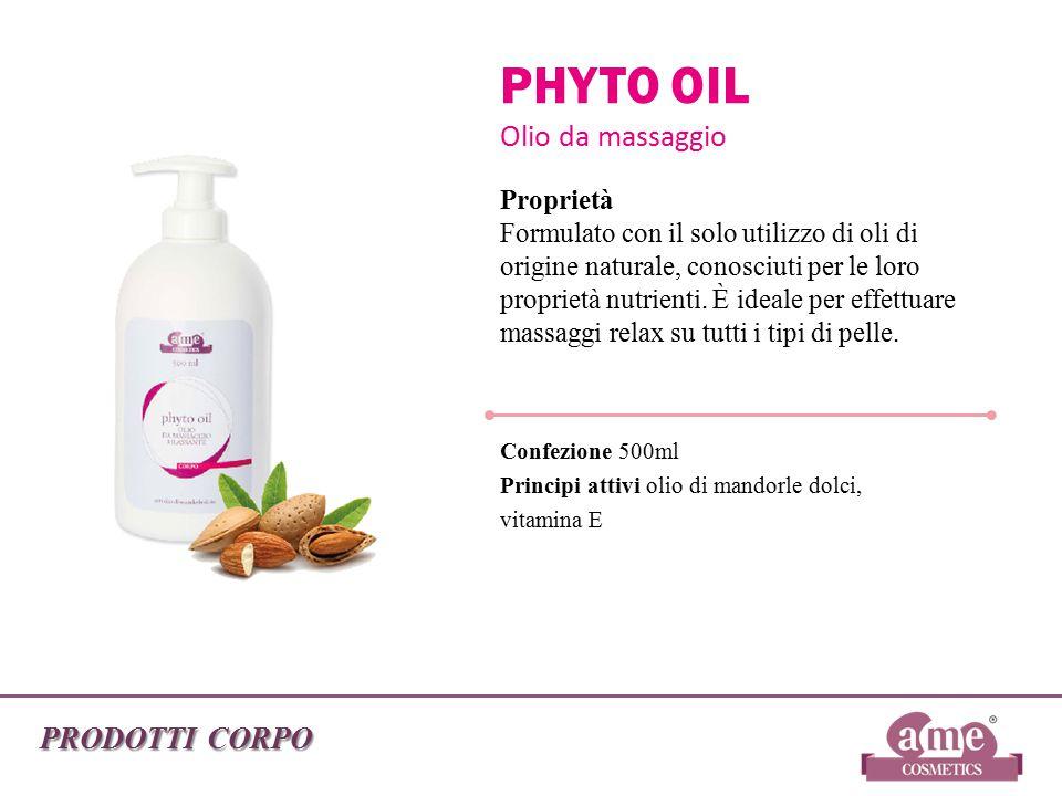 PRODOTTI CORPO PHYTO OIL Olio da massaggio Proprietà Formulato con il solo utilizzo di oli di origine naturale, conosciuti per le loro proprietà nutri