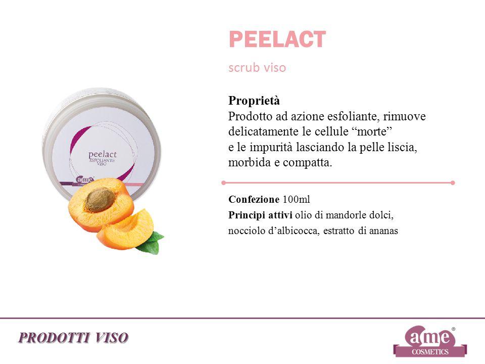 """PRODOTTI VISO PEELACT scrub viso Proprietà Prodotto ad azione esfoliante, rimuove delicatamente le cellule """"morte"""" e le impurità lasciando la pelle li"""