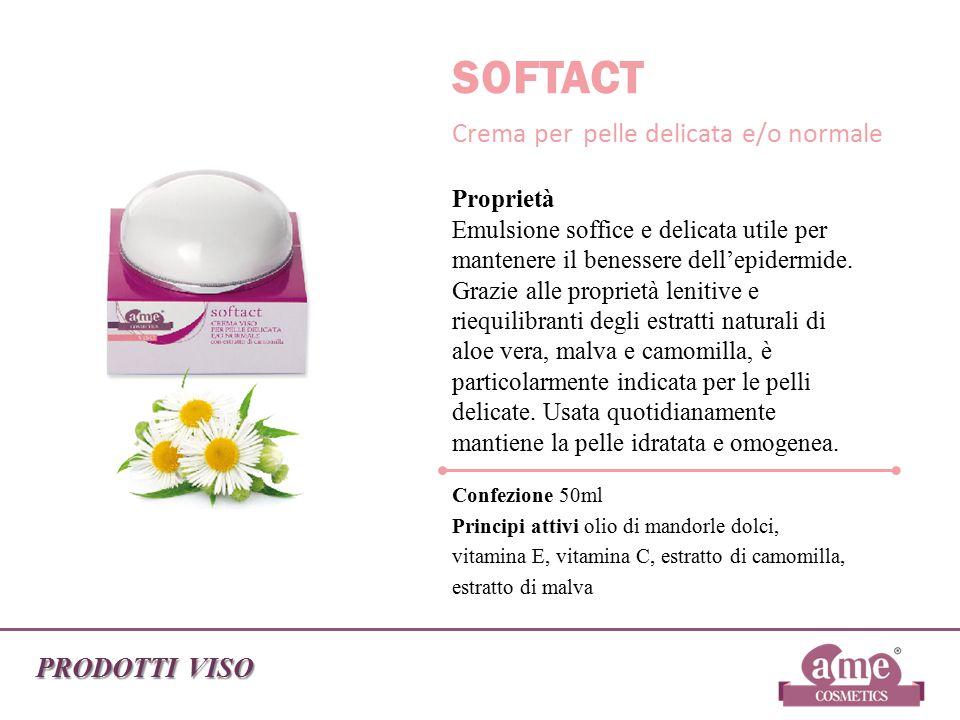 PRODOTTI VISO SOFTACT Crema per pelle delicata e/o normale Proprietà Emulsione soffice e delicata utile per mantenere il benessere dell'epidermide. Gr