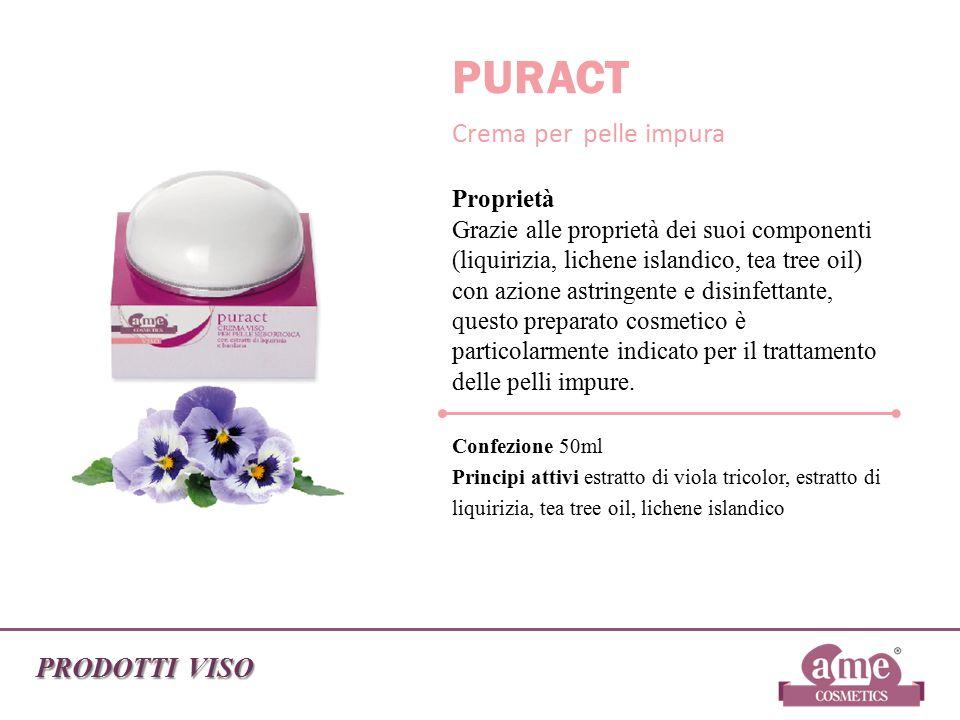 PRODOTTI VISO PURACT Crema per pelle impura Proprietà Grazie alle proprietà dei suoi componenti (liquirizia, lichene islandico, tea tree oil) con azio