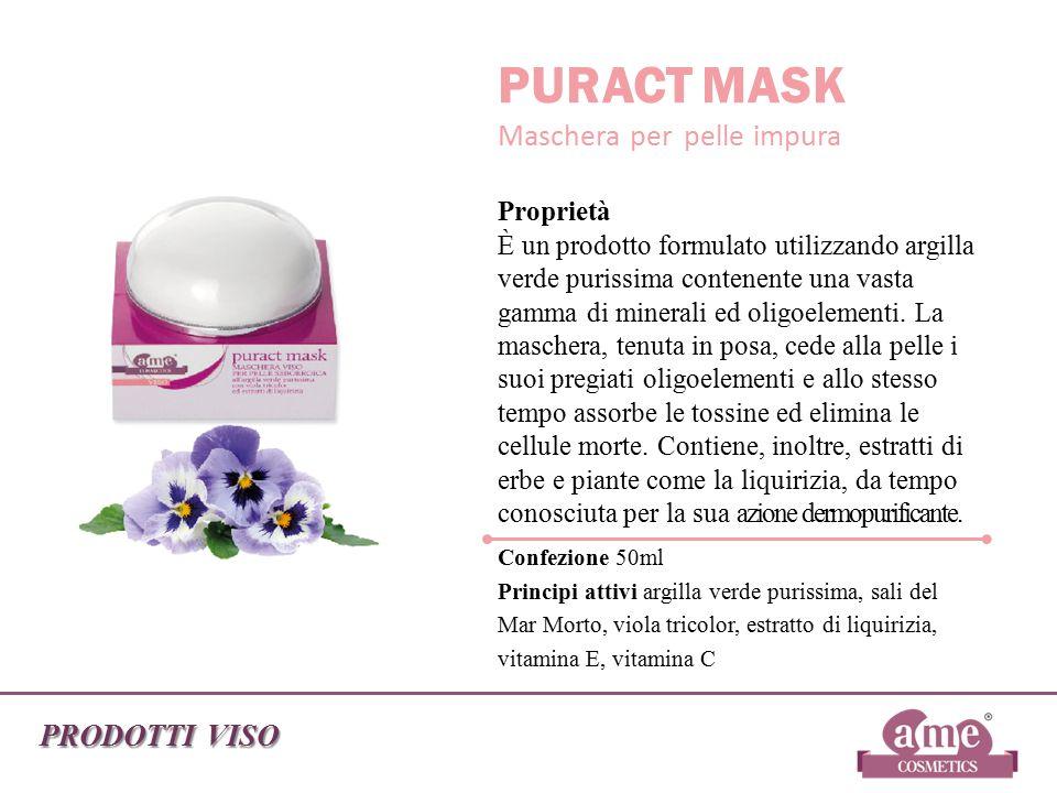 PRODOTTI VISO PURACT MASK Maschera per pelle impura Proprietà È un prodotto formulato utilizzando argilla verde purissima contenente una vasta gamma d