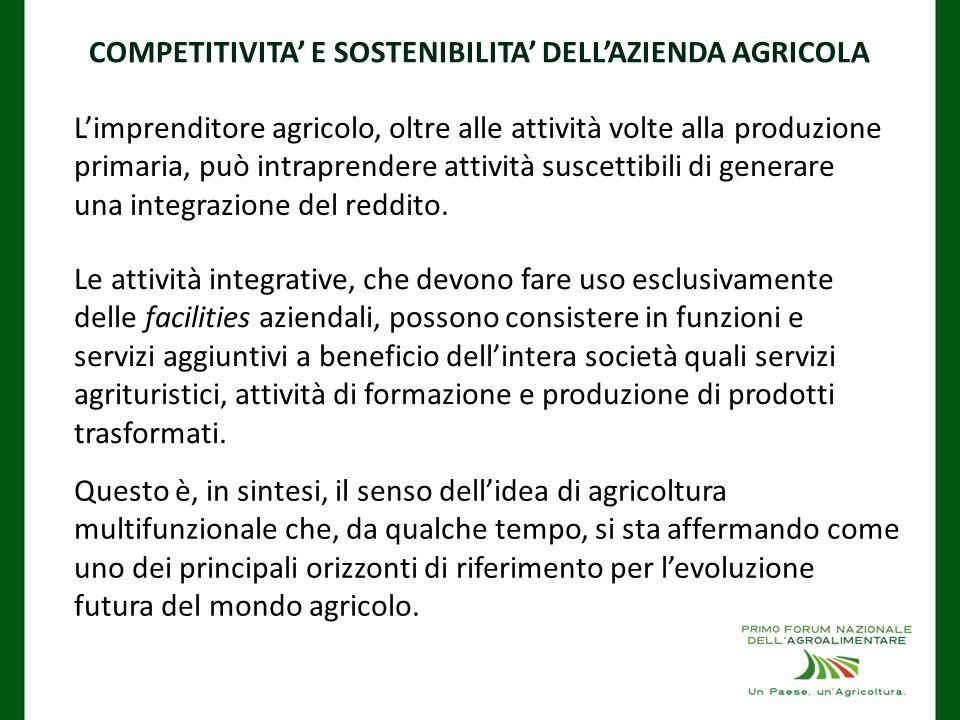 Questo è, in sintesi, il senso dell'idea di agricoltura multifunzionale che, da qualche tempo, si sta affermando come uno dei principali orizzonti di riferimento per l'evoluzione futura del mondo agricolo.