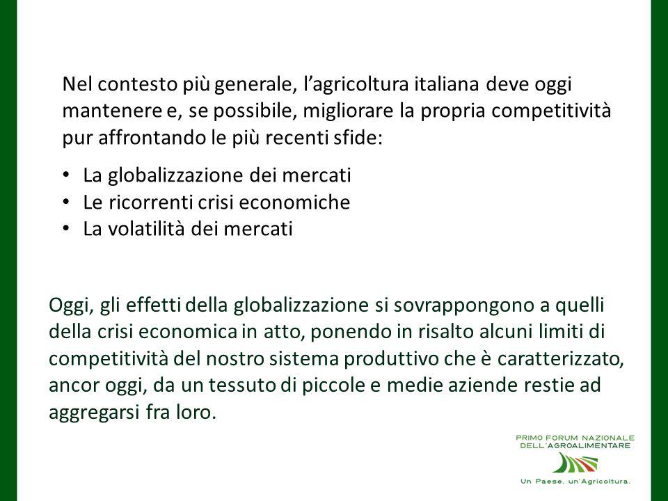 Nel contesto più generale, l'agricoltura italiana deve oggi mantenere e, se possibile, migliorare la propria competitività pur affrontando le più recenti sfide: La globalizzazione dei mercati Le ricorrenti crisi economiche La volatilità dei mercati Oggi, gli effetti della globalizzazione si sovrappongono a quelli della crisi economica in atto, ponendo in risalto alcuni limiti di competitività del nostro sistema produttivo che è caratterizzato, ancor oggi, da un tessuto di piccole e medie aziende restie ad aggregarsi fra loro.