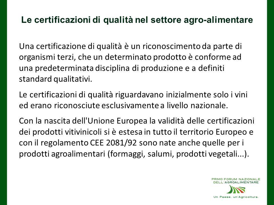 Le certificazioni di qualità nel settore agro-alimentare Una certificazione di qualità è un riconoscimento da parte di organismi terzi, che un determinato prodotto è conforme ad una predeterminata disciplina di produzione e a definiti standard qualitativi.
