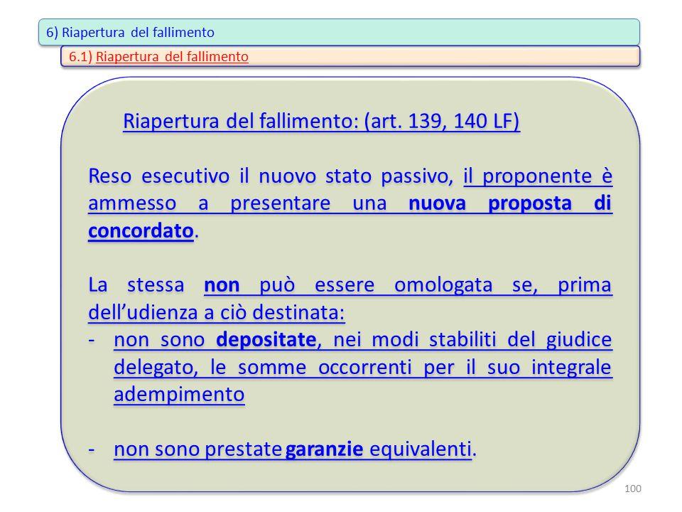 Riapertura del fallimento: (art. 139, 140 LF) Reso esecutivo il nuovo stato passivo, il proponente è ammesso a presentare una nuova proposta di concor