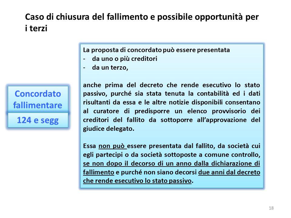 Concordato fallimentare Caso di chiusura del fallimento e possibile opportunità per i terzi La proposta di concordato può essere presentata -da uno o
