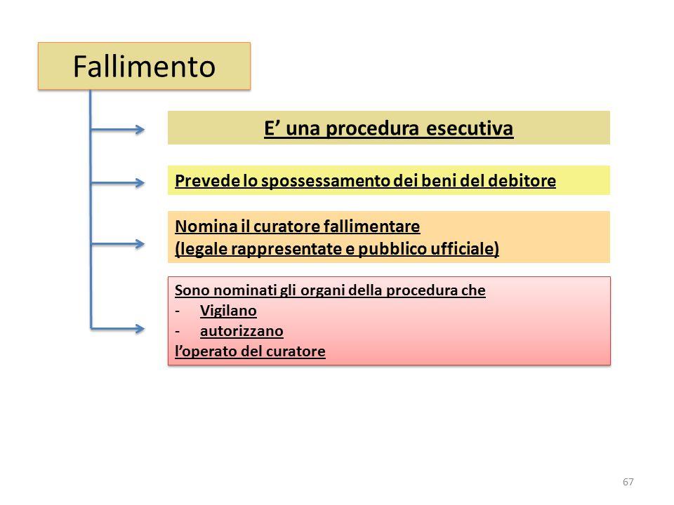Fallimento E' una procedura esecutiva Nomina il curatore fallimentare (legale rappresentate e pubblico ufficiale) Prevede lo spossessamento dei beni d