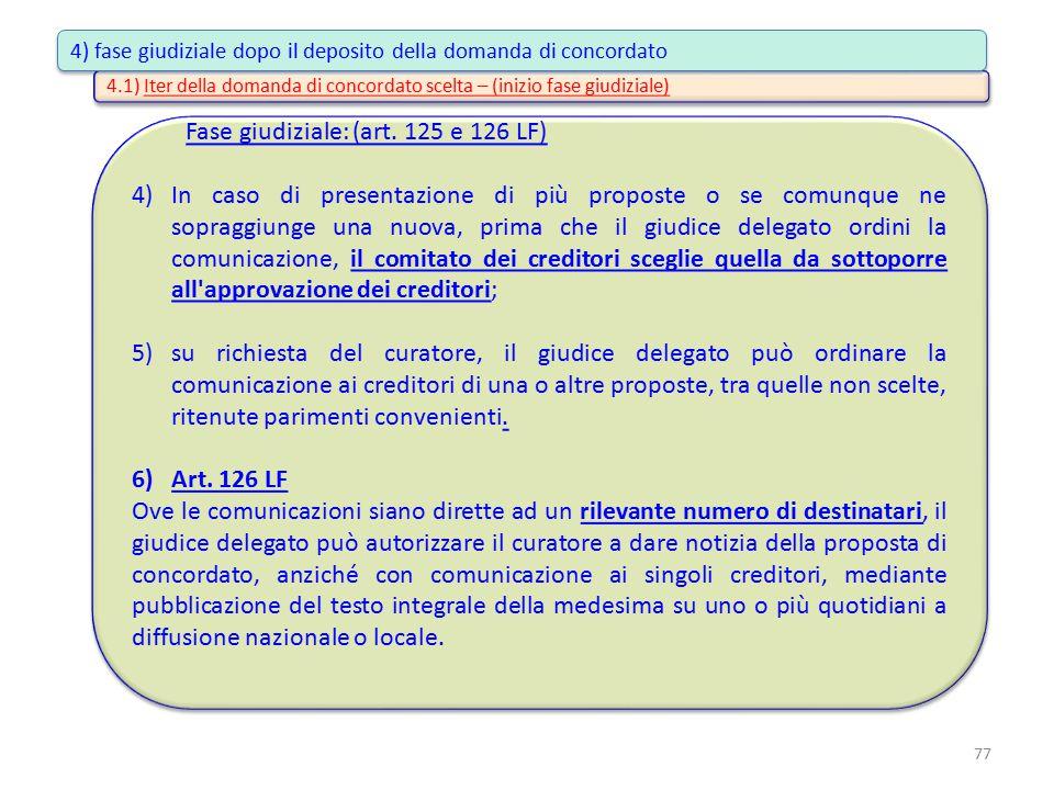4.1) Iter della domanda di concordato scelta – (inizio fase giudiziale) Fase giudiziale: (art. 125 e 126 LF) 4)In caso di presentazione di più propost