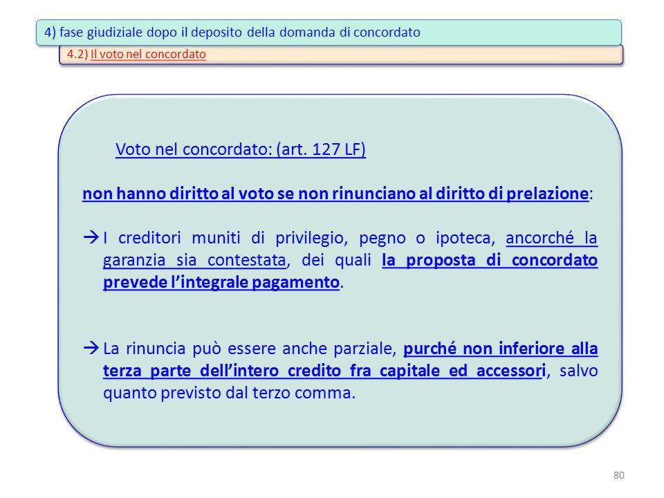 4.2) Il voto nel concordato Voto nel concordato: (art. 127 LF) non hanno diritto al voto se non rinunciano al diritto di prelazione:  I creditori mun