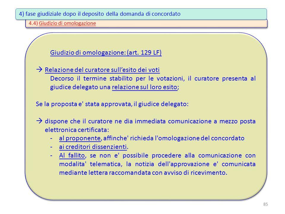 4.4) Giudizio di omologazione Giudizio di omologazione: (art. 129 LF)  Relazione del curatore sull'esito dei voti Decorso il termine stabilito per le