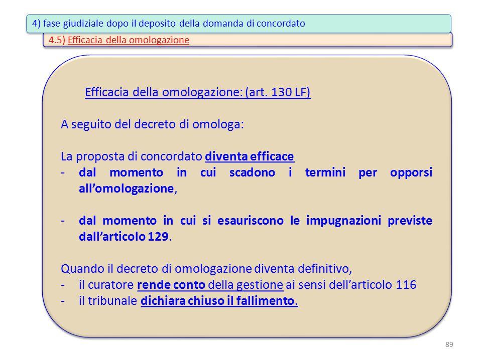 4.5) Efficacia della omologazione Efficacia della omologazione: (art. 130 LF) A seguito del decreto di omologa: La proposta di concordato diventa effi