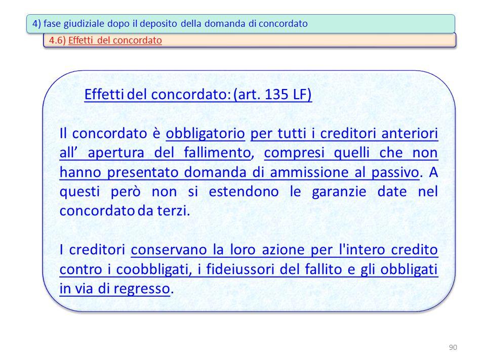 4.6) Effetti del concordato Effetti del concordato: (art. 135 LF) Il concordato è obbligatorio per tutti i creditori anteriori all' apertura del falli