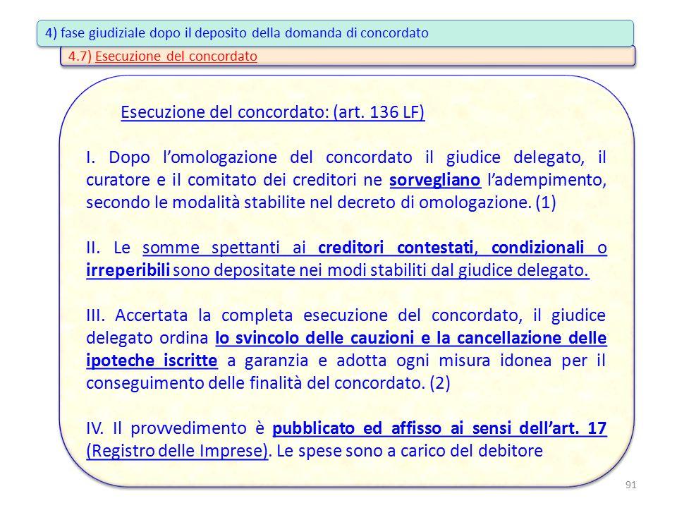 Esecuzione del concordato: (art. 136 LF) I. Dopo l'omologazione del concordato il giudice delegato, il curatore e il comitato dei creditori ne sorvegl