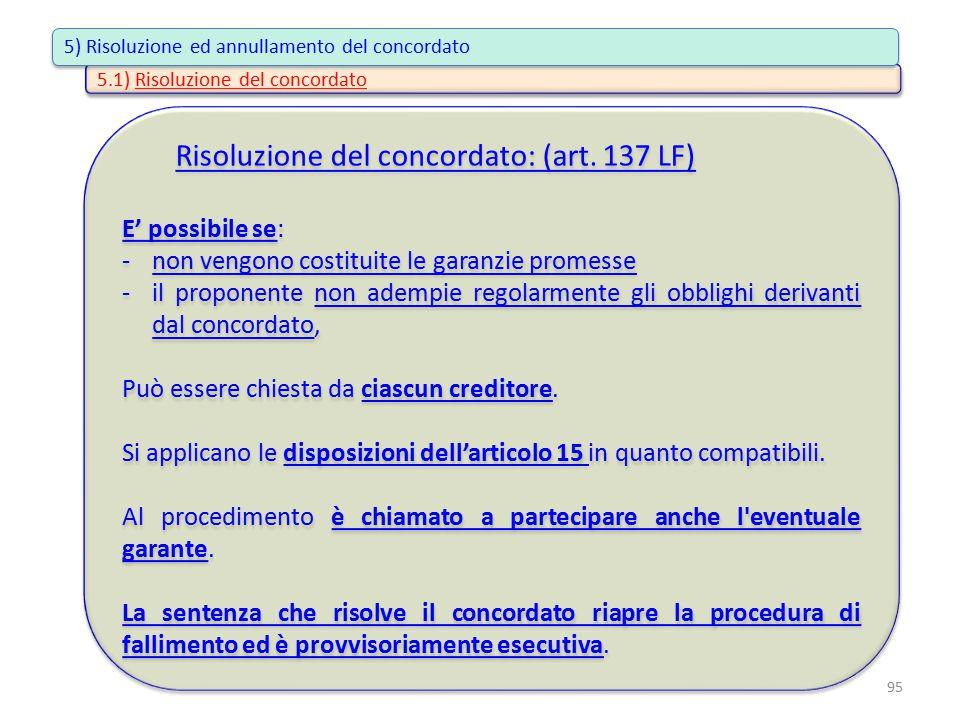 Risoluzione del concordato: (art. 137 LF) E' possibile se: -non vengono costituite le garanzie promesse -il proponente non adempie regolarmente gli ob