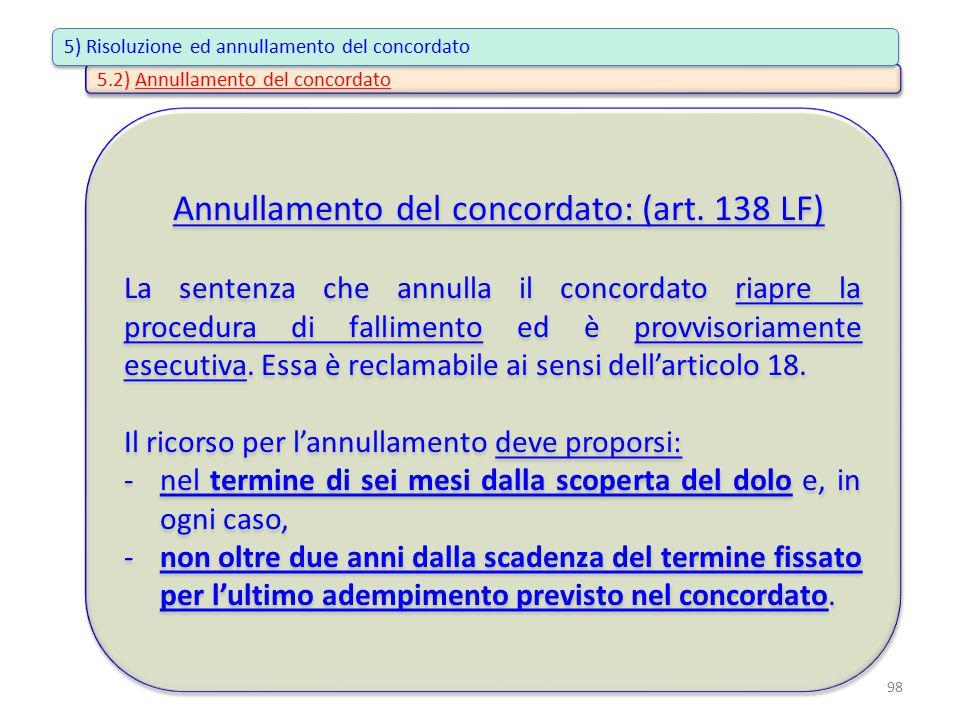 Annullamento del concordato: (art. 138 LF) La sentenza che annulla il concordato riapre la procedura di fallimento ed è provvisoriamente esecutiva. Es