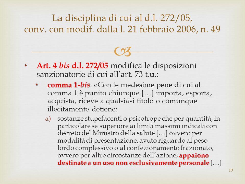  Art. 4 bis d.l. 272/05 modifica le disposizioni sanzionatorie di cui all'art. 73 t.u.: comma 1- bis comma 1- bis : «Con le medesime pene di cui al c