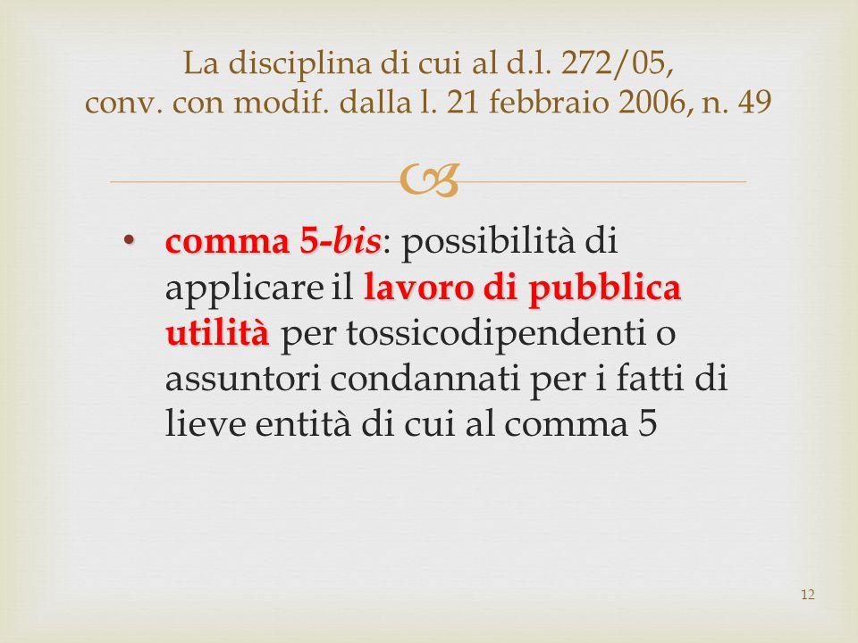  comma 5- bis lavoro di pubblica utilità comma 5- bis : possibilità di applicare il lavoro di pubblica utilità per tossicodipendenti o assuntori condannati per i fatti di lieve entità di cui al comma 5 La disciplina di cui al d.l.