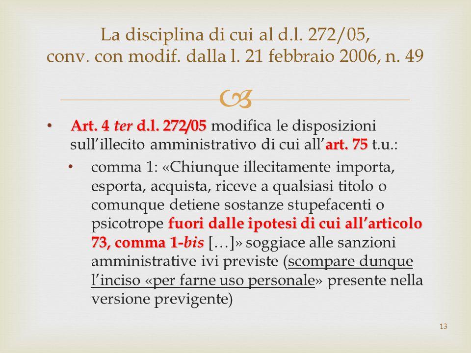  Art. 4 ter d.l. 272/05 art. 75 Art. 4 ter d.l. 272/05 modifica le disposizioni sull'illecito amministrativo di cui all' art. 75 t.u.: fuori dalle ip