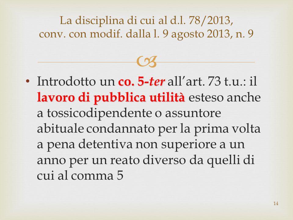  co. 5- ter lavoro di pubblica utilità Introdotto un co. 5- ter all'art. 73 t.u.: il lavoro di pubblica utilità esteso anche a tossicodipendente o as