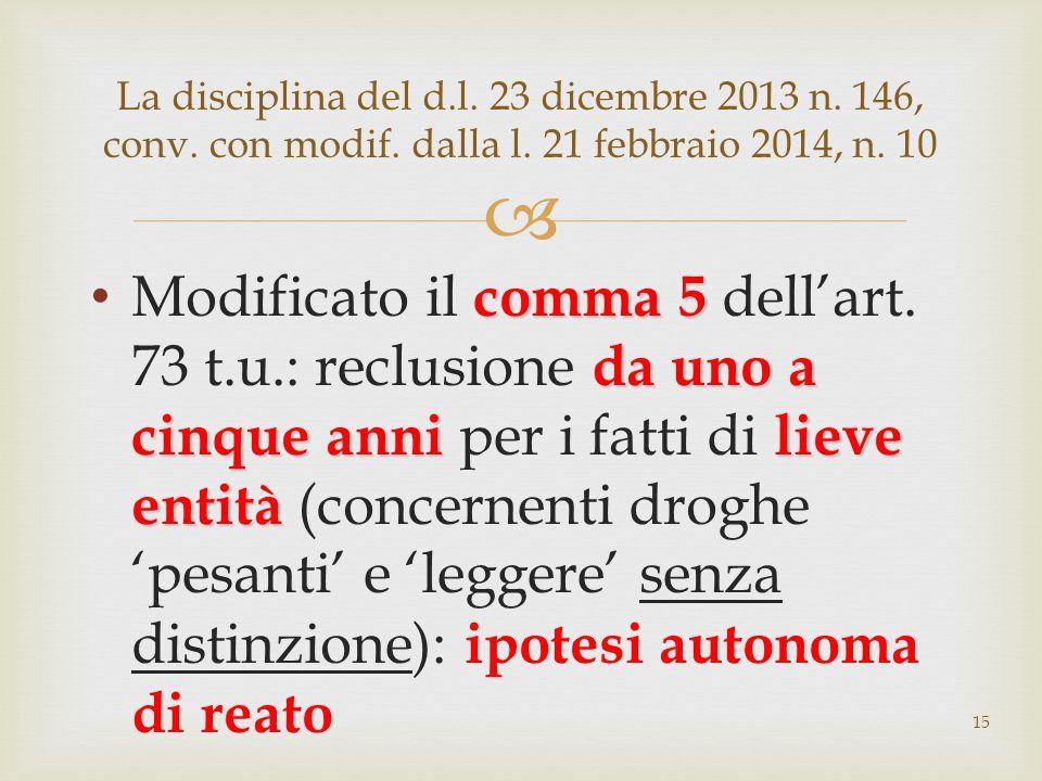  comma 5 da uno a cinque anni lieve entità Modificato il comma 5 dell'art. 73 t.u.: reclusione da uno a cinque anni per i fatti di lieve entità (conc