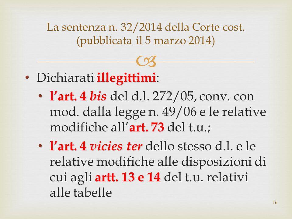  illegittimi Dichiarati illegittimi : l'art. 4 bis art. 73 l'art. 4 bis del d.l. 272/05, conv. con mod. dalla legge n. 49/06 e le relative modifiche