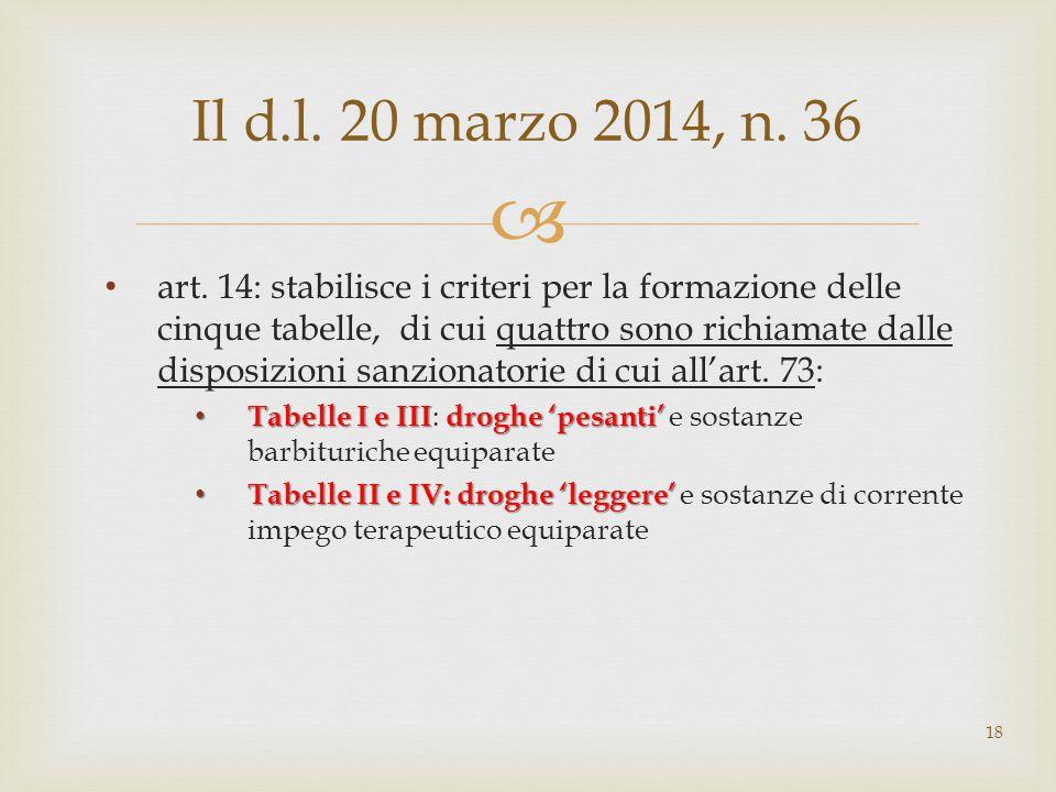  art. 14: stabilisce i criteri per la formazione delle cinque tabelle, di cui quattro sono richiamate dalle disposizioni sanzionatorie di cui all'art