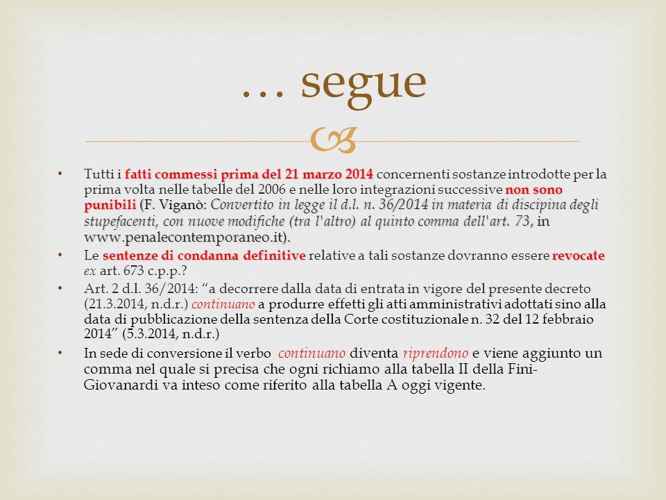  … segue fatti commessi prima del 21 marzo 2014 non sono punibili (F.