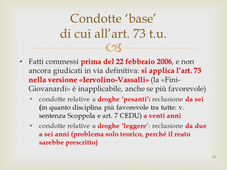  prima del 22 febbraio 2006 si applica l'art. 73 nella versione «Iervolino-Vassalli» Fatti commessi prima del 22 febbraio 2006, e non ancora giudicat