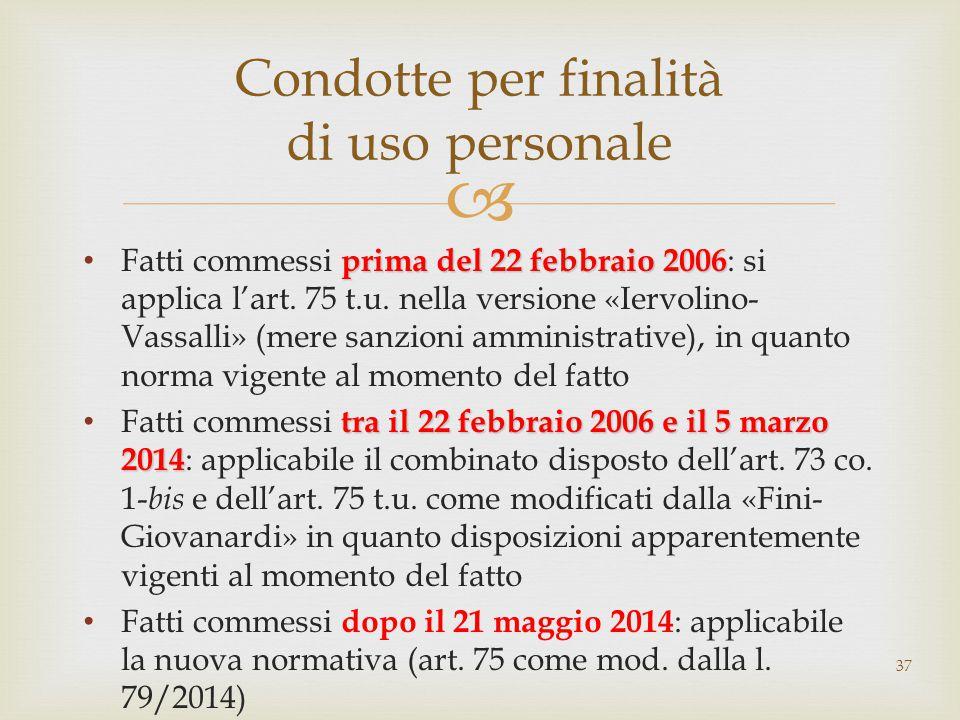 prima del 22 febbraio 2006 Fatti commessi prima del 22 febbraio 2006 : si applica l'art. 75 t.u. nella versione «Iervolino- Vassalli» (mere sanzioni