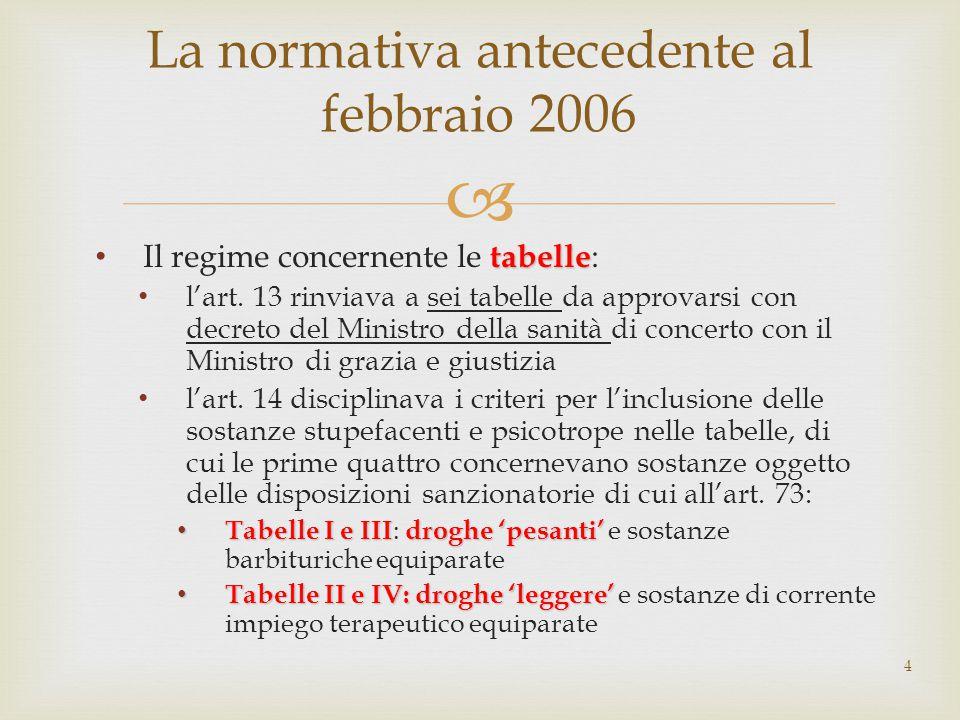  tabelle Il regime concernente le tabelle : l'art. 13 rinviava a sei tabelle da approvarsi con decreto del Ministro della sanità di concerto con il M