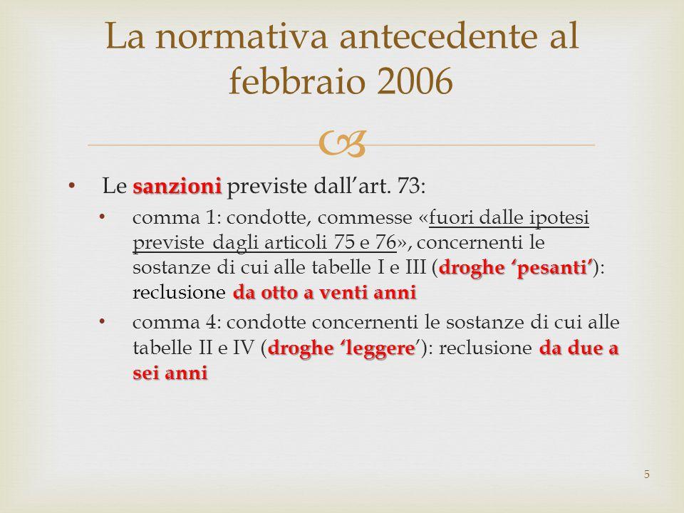  sanzioni Le sanzioni previste dall'art. 73: droghe 'pesanti' da otto a venti anni comma 1: condotte, commesse «fuori dalle ipotesi previste dagli ar