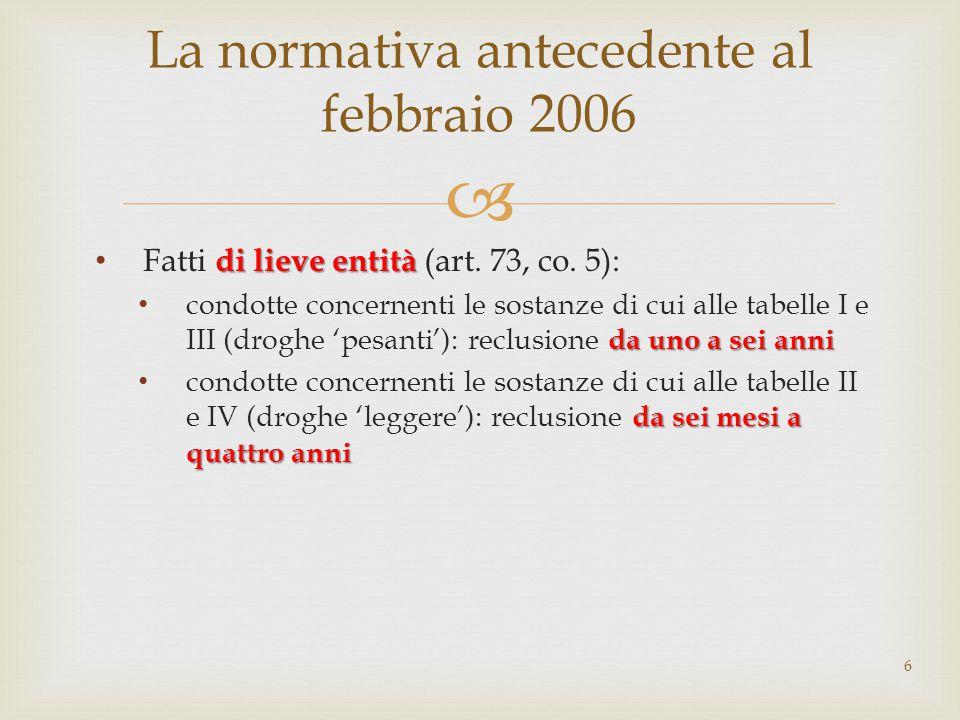  di lieve entità Fatti di lieve entità (art. 73, co. 5): da uno a sei anni condotte concernenti le sostanze di cui alle tabelle I e III (droghe 'pesa