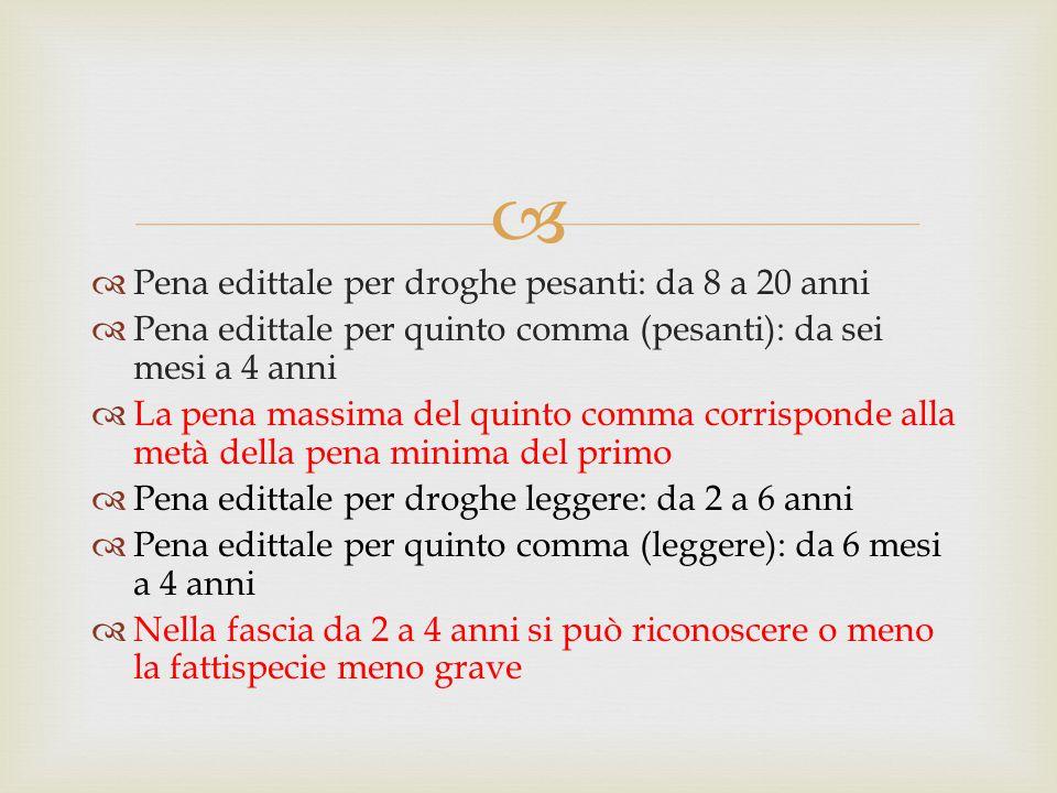   Pena edittale per droghe pesanti: da 8 a 20 anni  Pena edittale per quinto comma (pesanti): da sei mesi a 4 anni  La pena massima del quinto com