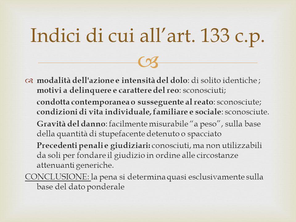  Indici di cui all'art. 133 c.p.  modalità dell'azione e intensità del dolo : di solito identiche ; motivi a delinquere e carattere del reo : sconos