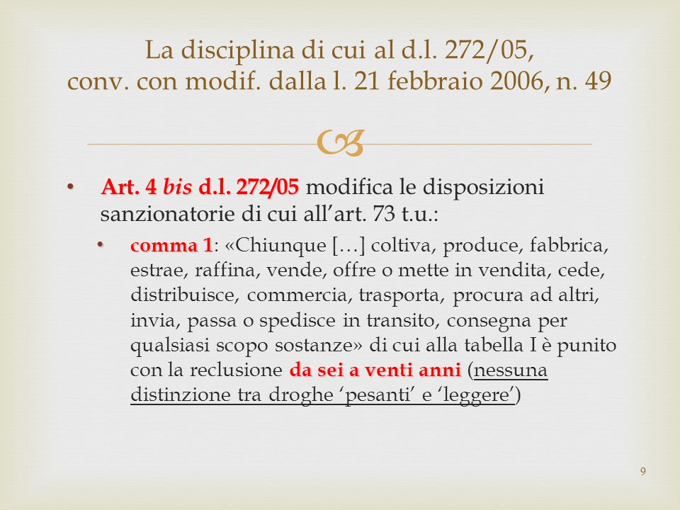  Art.4 bis d.l. 272/05 modifica le disposizioni sanzionatorie di cui all'art.