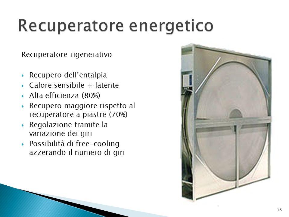 Recuperatore rigenerativo  Recupero dell'entalpia  Calore sensibile + latente  Alta efficienza (80%)  Recupero maggiore rispetto al recuperatore a