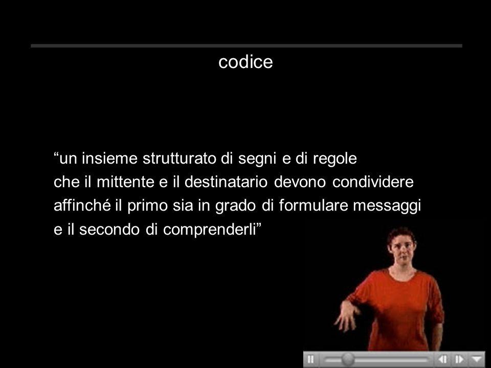 """codice """"un insieme strutturato di segni e di regole che il mittente e il destinatario devono condividere affinché il primo sia in grado di formulare m"""