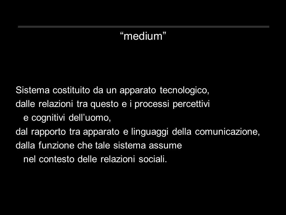 medium Sistema costituito da un apparato tecnologico, dalle relazioni tra questo e i processi percettivi e cognitivi dell'uomo, dal rapporto tra apparato e linguaggi della comunicazione, dalla funzione che tale sistema assume nel contesto delle relazioni sociali.