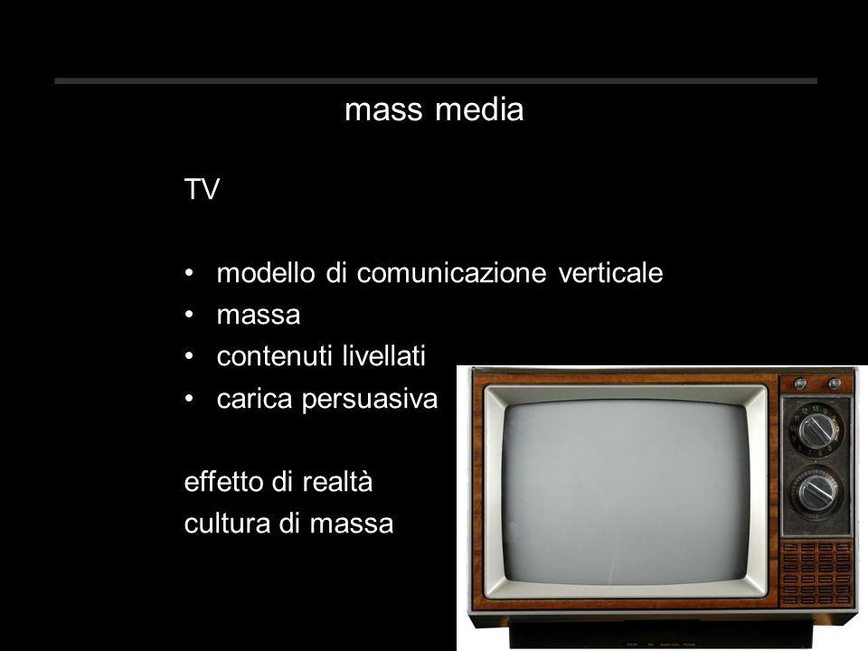 mass media TV modello di comunicazione verticale massa contenuti livellati carica persuasiva effetto di realtà cultura di massa