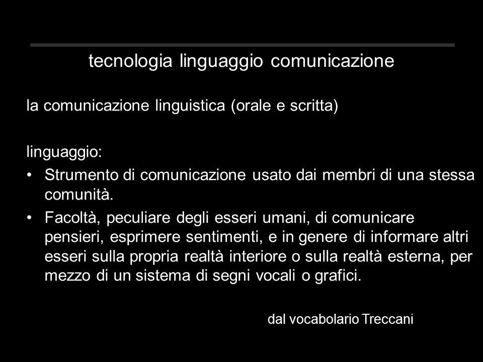 tecnologia linguaggio comunicazione la comunicazione linguistica (orale e scritta) linguaggio: Strumento di comunicazione usato dai membri di una stessa comunità.