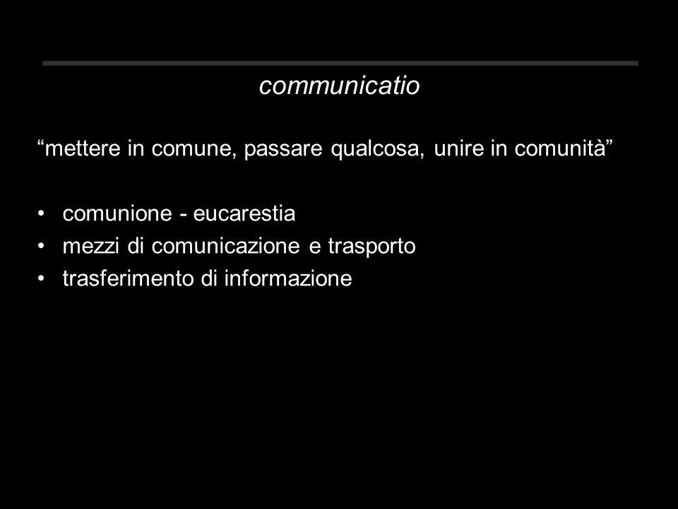 communicatio mettere in comune, passare qualcosa, unire in comunità comunione - eucarestia mezzi di comunicazione e trasporto trasferimento di informazione