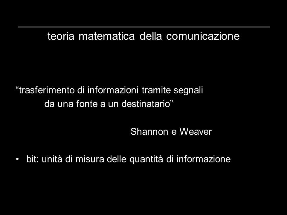 teoria matematica della comunicazione trasferimento di informazioni tramite segnali da una fonte a un destinatario Shannon e Weaver bit: unità di misura delle quantità di informazione