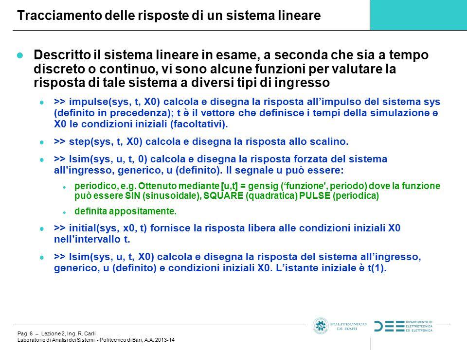 Pag.6 – Lezione 2, Ing. R. Carli Laboratorio di Analisi dei Sistemi - Politecnico di Bari, A.A.