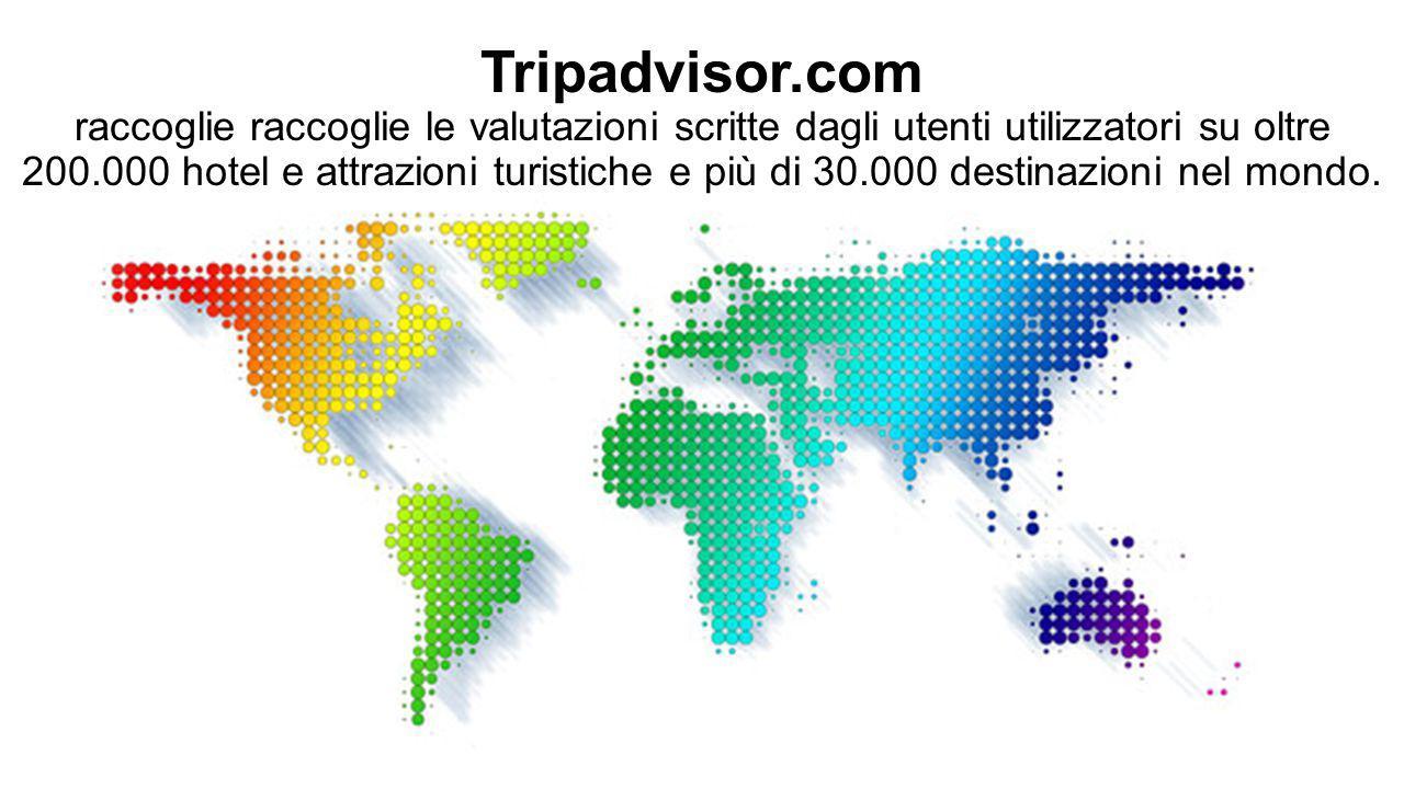 Tripadvisor.com raccoglie raccoglie le valutazioni scritte dagli utenti utilizzatori su oltre 200.000 hotel e attrazioni turistiche e più di 30.000 de