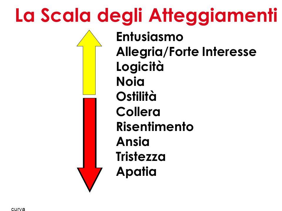 18 La Scala degli Atteggiamenti Entusiasmo Allegria/Forte Interesse Logicità Noia Ostilità Collera Risentimento Ansia Tristezza Apatia curva