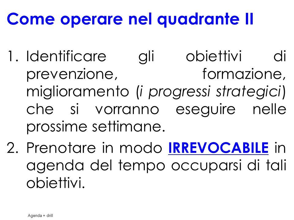 33 Come operare nel quadrante II 1.Identificare gli obiettivi di prevenzione, formazione, miglioramento (i progressi strategici) che si vorranno eseguire nelle prossime settimane.